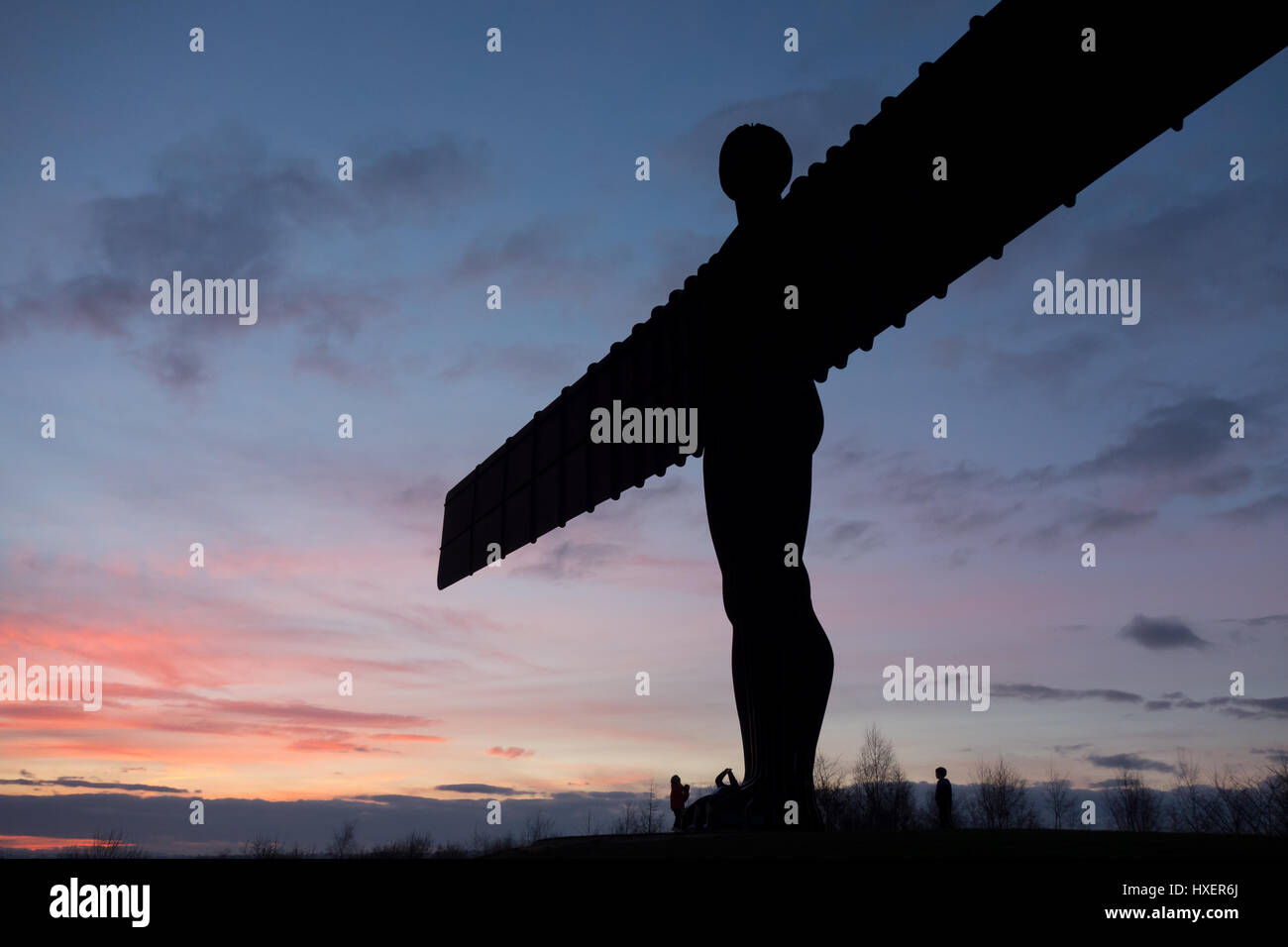 angel of the north in gateshead on an evening - Stock Image