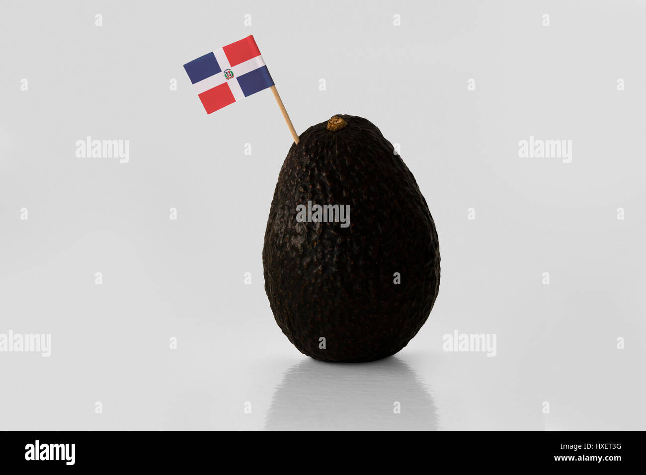 Isolated avocado with Dominican Republic flag - Stock Image