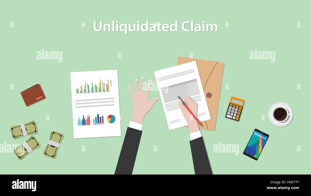 Illustration of a man signing unliquidated claim document with stock illustration of a man signing unliquidated claim document with paperworks folder document money and calculator on top of table ccuart Images