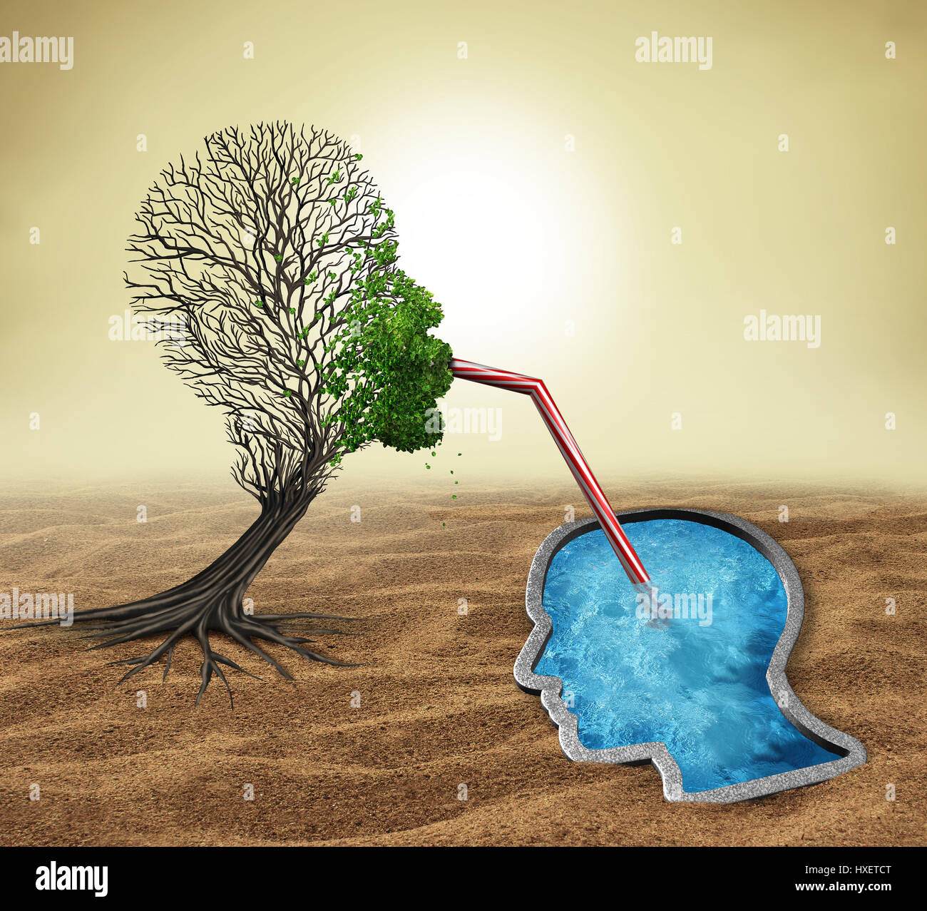 Psychology treatment and mental health assistance as a sick tree shaped as a human head drinking water from a pool - Stock Image