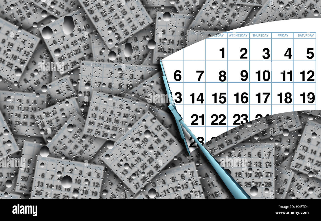 Clearing a busy schedule concept and appointment agenda business work symbol managing time as a wiper clearing clean - Stock Image