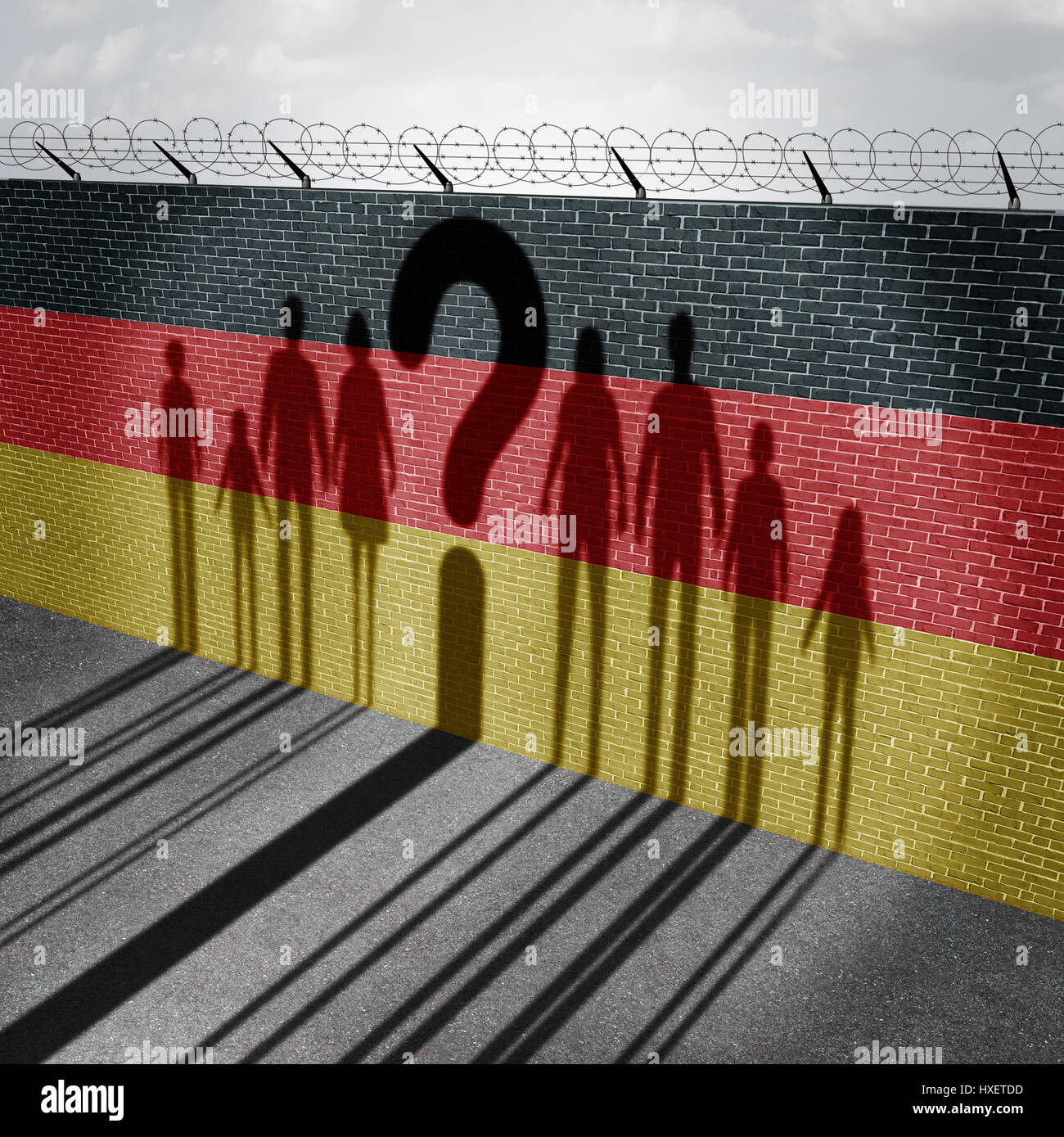 German refugee question and immigration government policy as newcomers in Germany as the cast shadow on a wall with - Stock Image