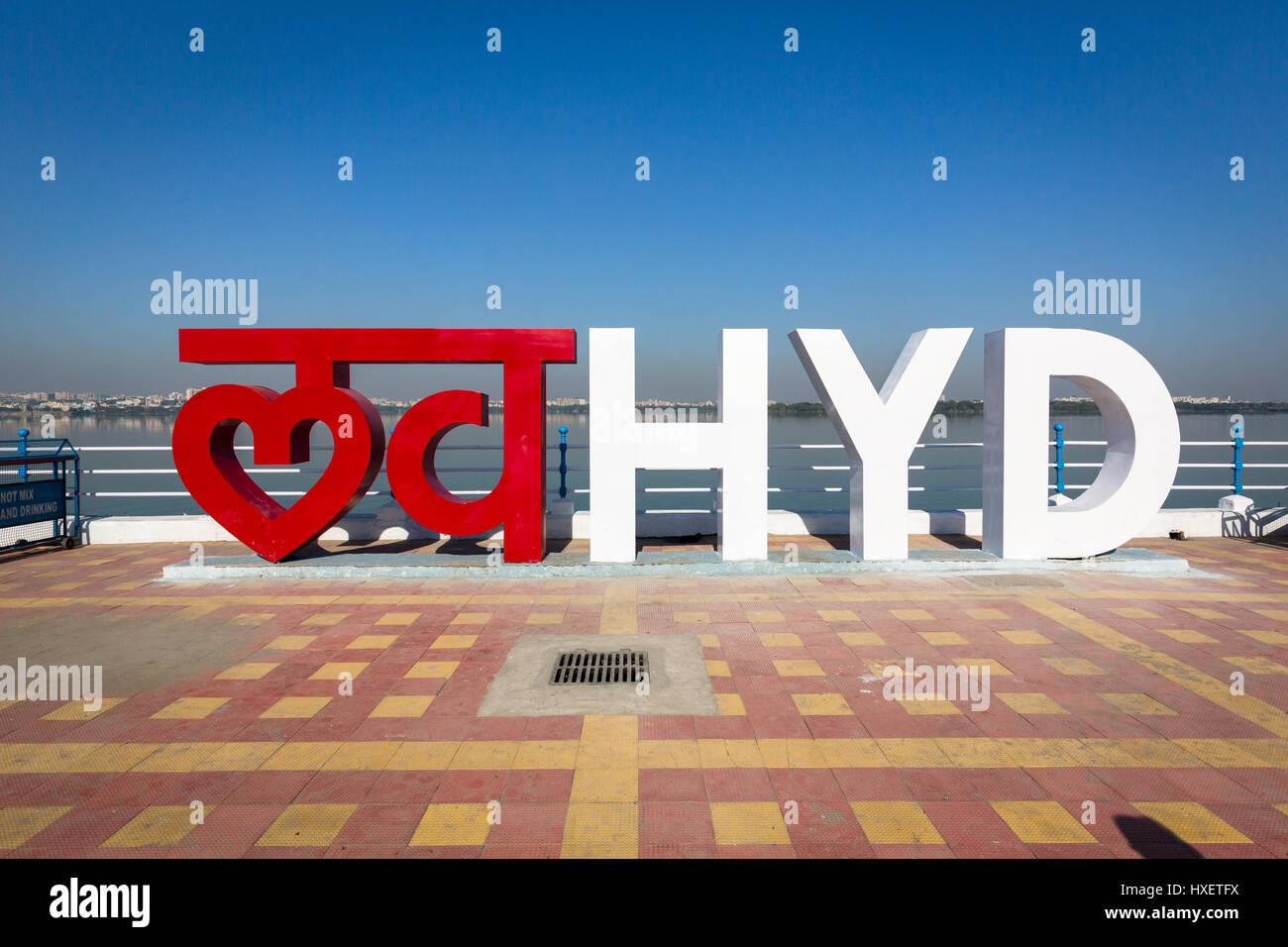 HYDERABAD, INDIA - NOVEMBER 26,2016. Love Hyd is a new typographic installation designed by Hitesh Malaviya & - Stock Image