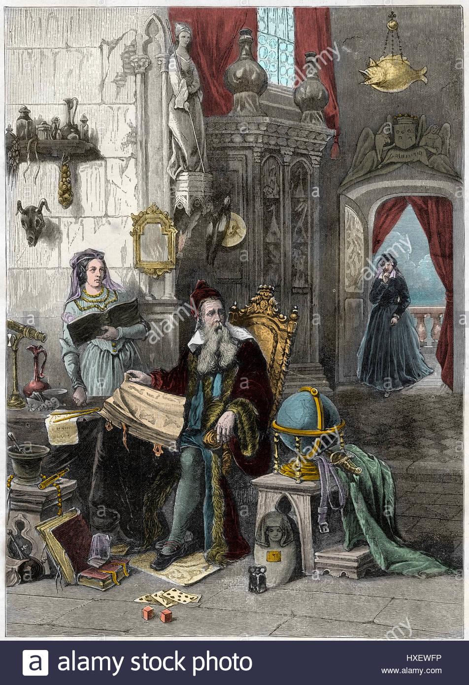 Catherine de Medici, 1519-1589, and her astrologer Nostradamus, 1503-1566 -  Portrait de Nostradamus, Michel de Notre Dame (1503-1566) astrologue et me