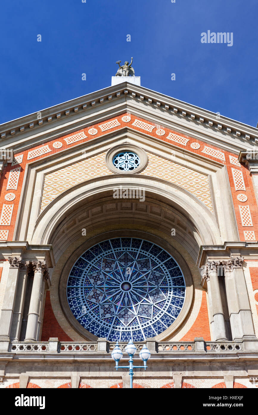 Exterior view of the Rose Window of Alexandra Palace in London, England. - Stock Image