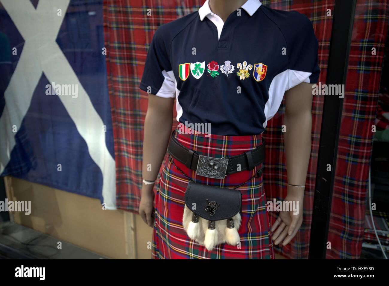 Scotland flag rugby shirt kilt sporran kitsch  6 nations shirt - Stock Image