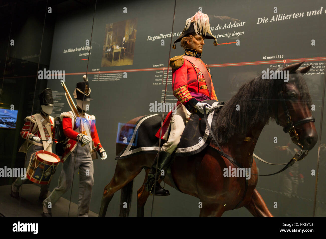 The Duke of Wellington sits on his horse, a waxwork exhibit inside the Memorial 1815 exhibition at the Waterloo - Stock Image