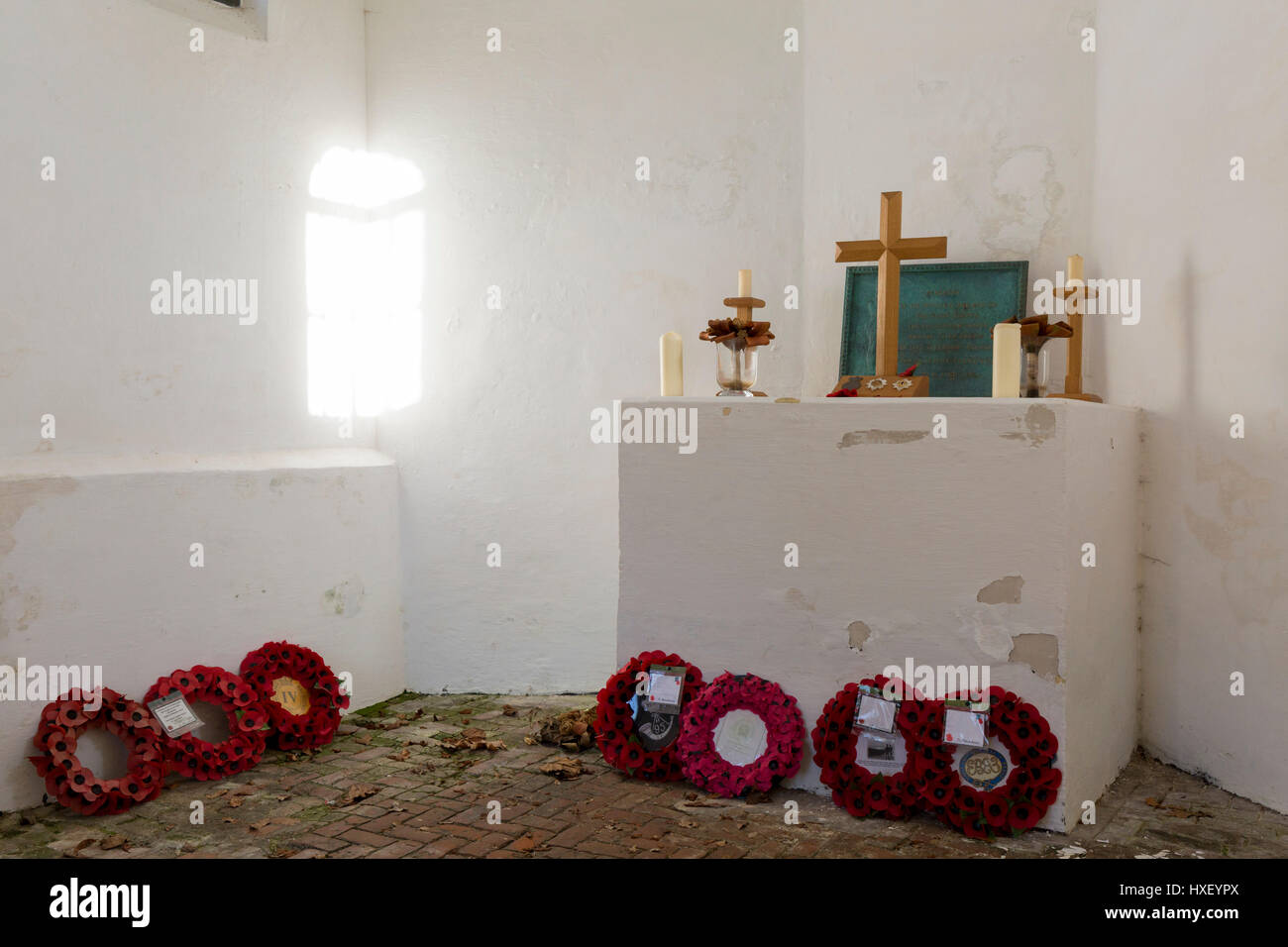 Interior of the Chapel at the strategically-important Hougoumont Farm during the Battle of Waterloo, on 25th March - Stock Image