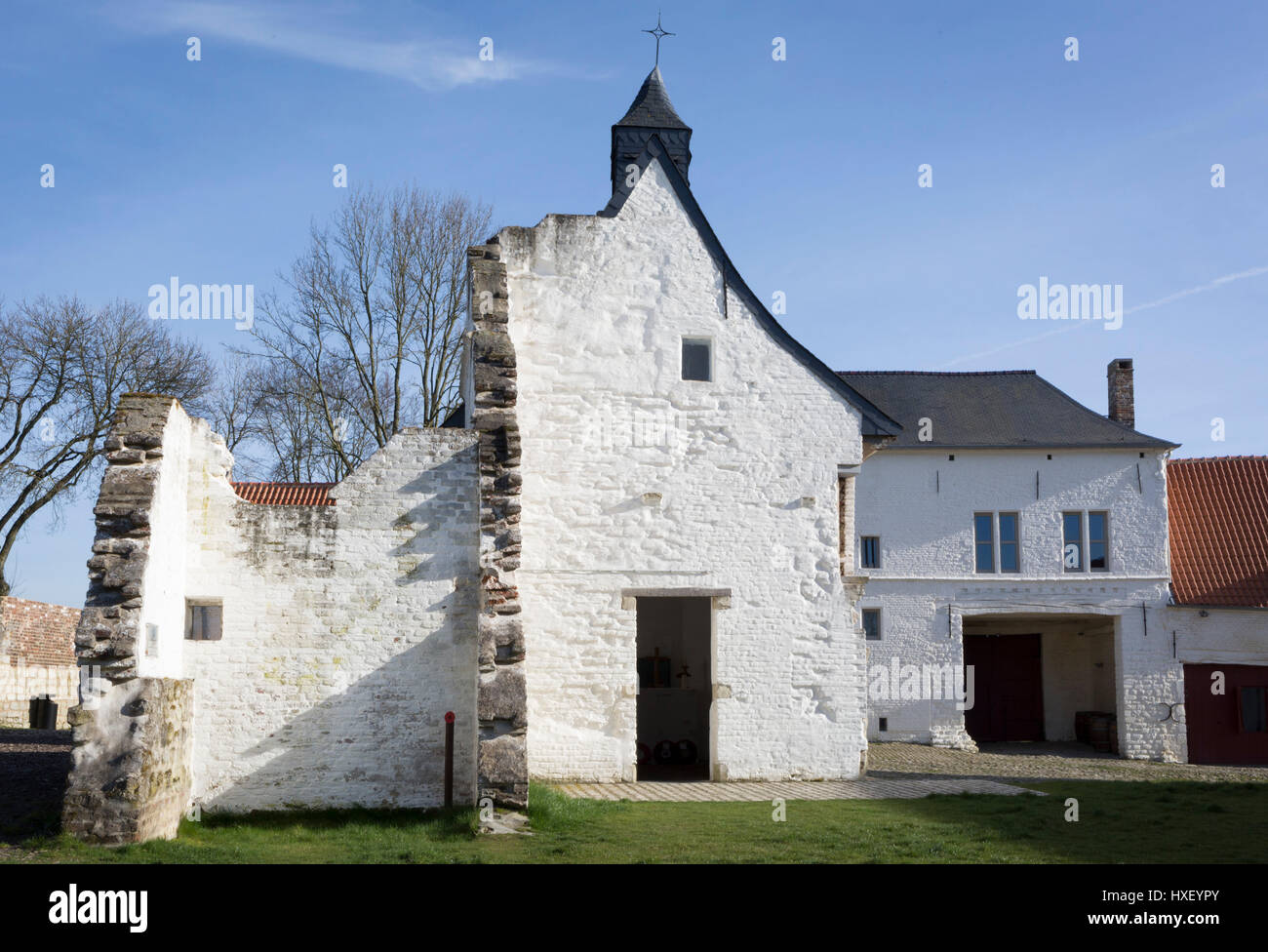 Exterior of the Chapel at the strategically-important Hougoumont Farm during the Battle of Waterloo, on 25th March - Stock Image