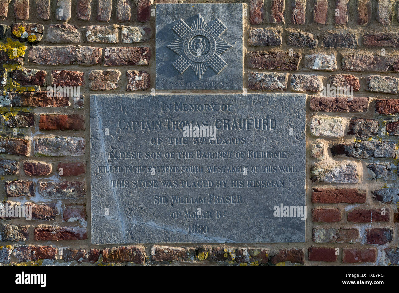 A memorial for Captain Thomas Craufurd of the 3rd Guards who died at Hougoumont Farm during the Battle of Waterloo, - Stock Image