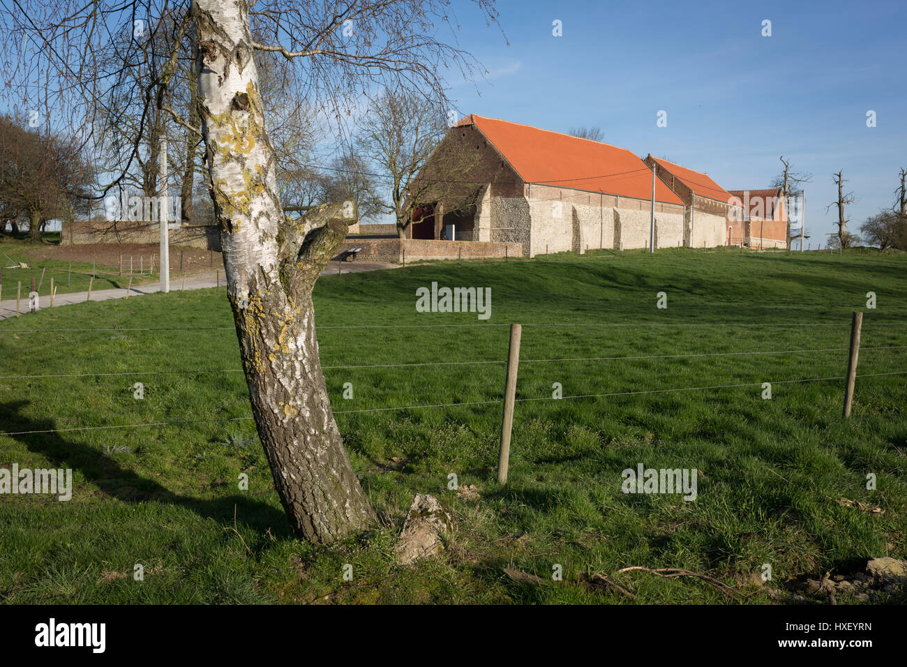 Exterior of the strategically-important Hougoumont Farm during the Battle of Waterloo, on 25th March 2017, at Waterloo, - Stock Image