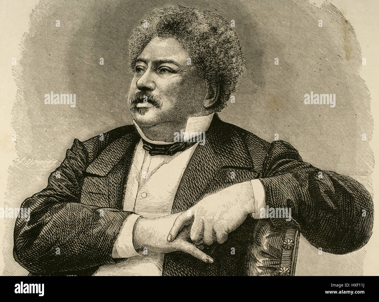 Alexandre Dumas (1802-1870). French writer. Romanticism and Historical fiction literary movement. Portrait. Engraving. - Stock Image