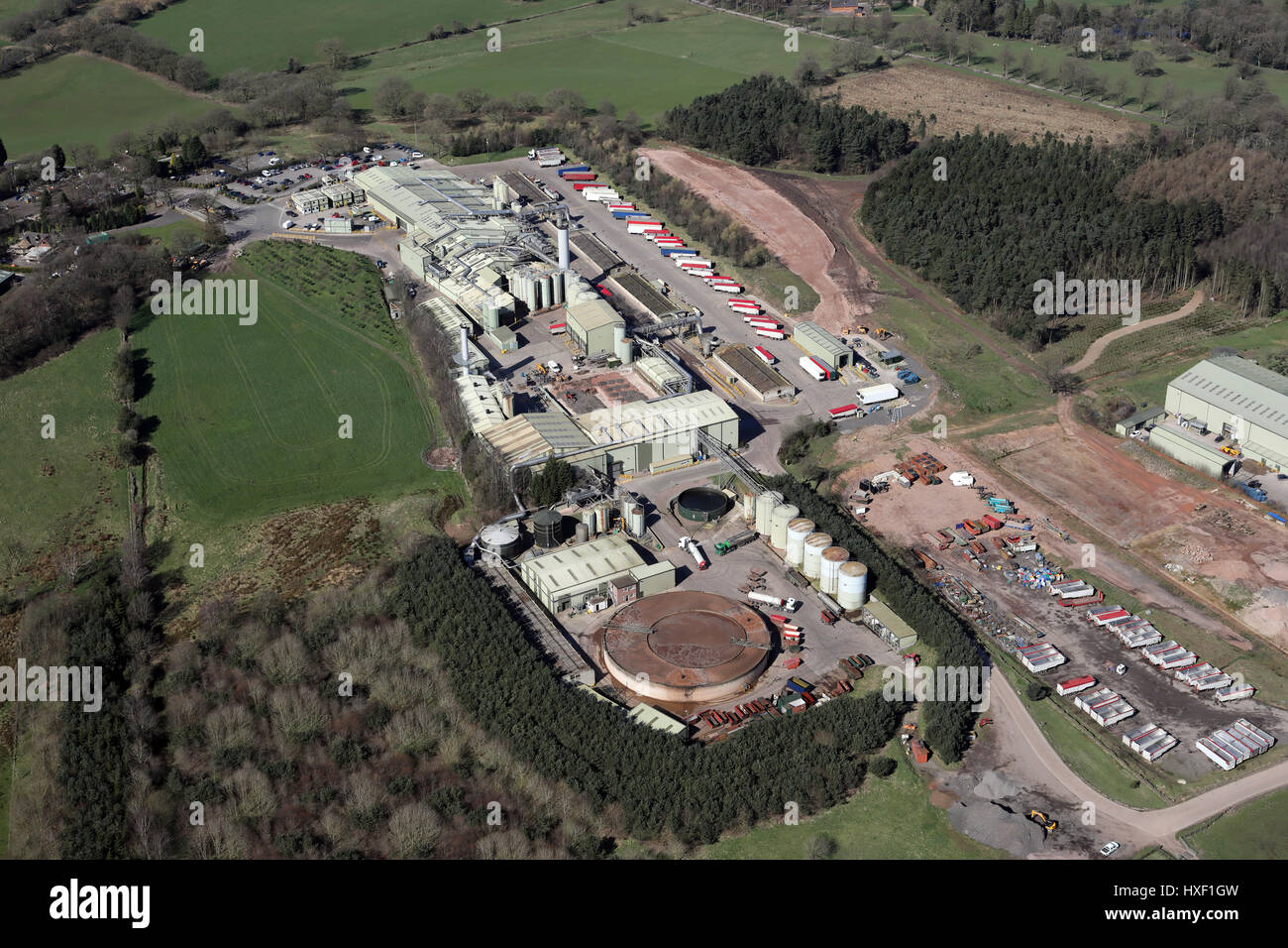 aerial view of a large factory premises in Cheshire, UK - Stock Image