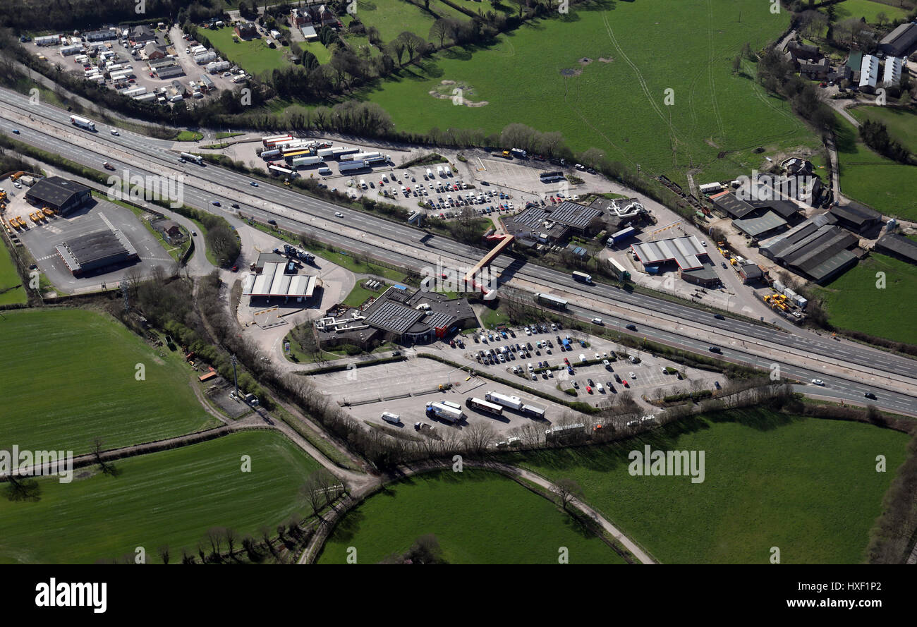 aerial view of Sandbach Services, M6, Cheshire, UK - Stock Image