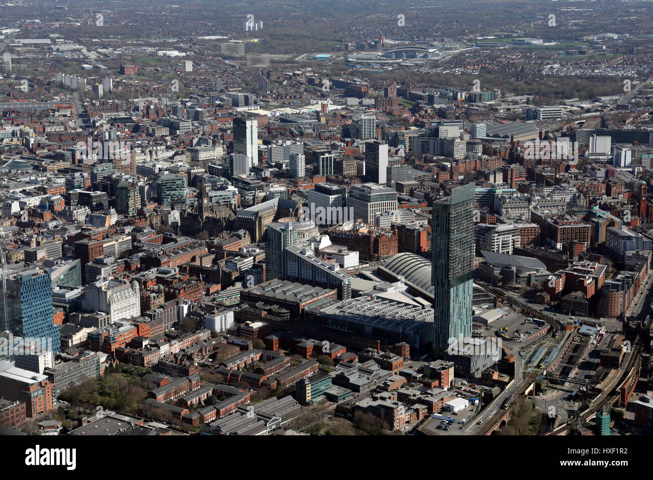 aerial view of Beetham Tower & Manchester city centre, UK - Stock Image