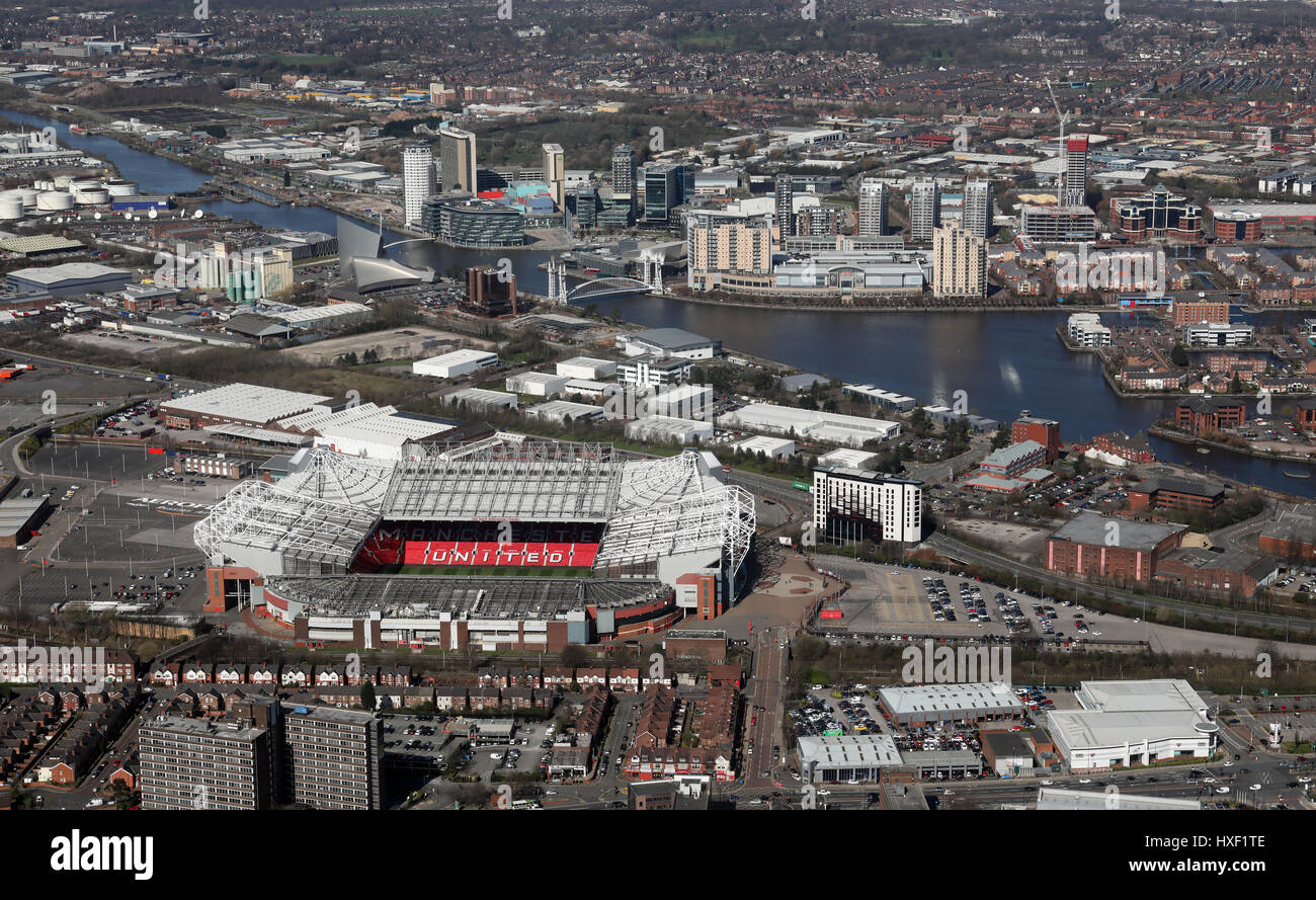 aerial view of Old Trafford Manchester United and Salford Quays, UK - Stock Image