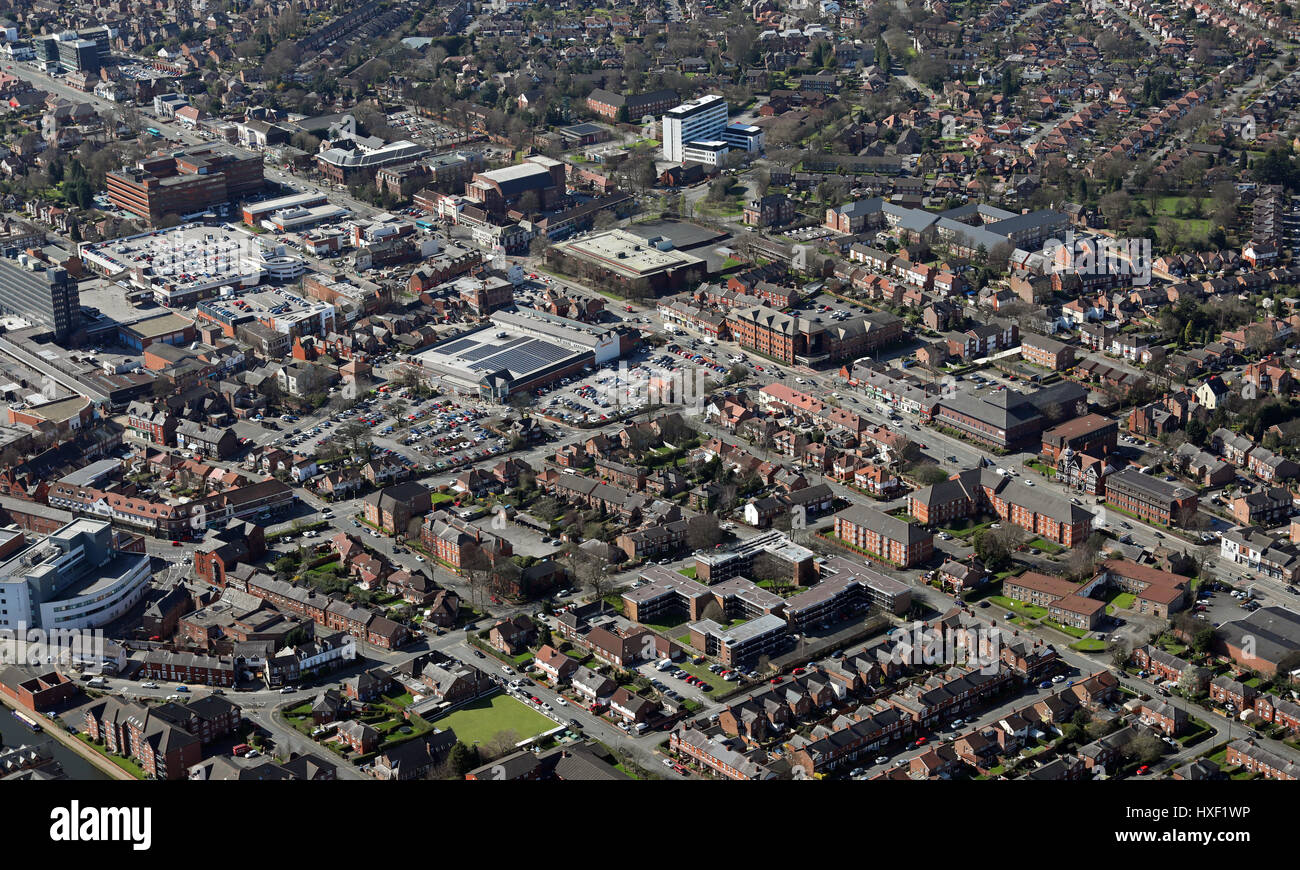 aerial view of the Manchester suburb of Sale, UK - Stock Image