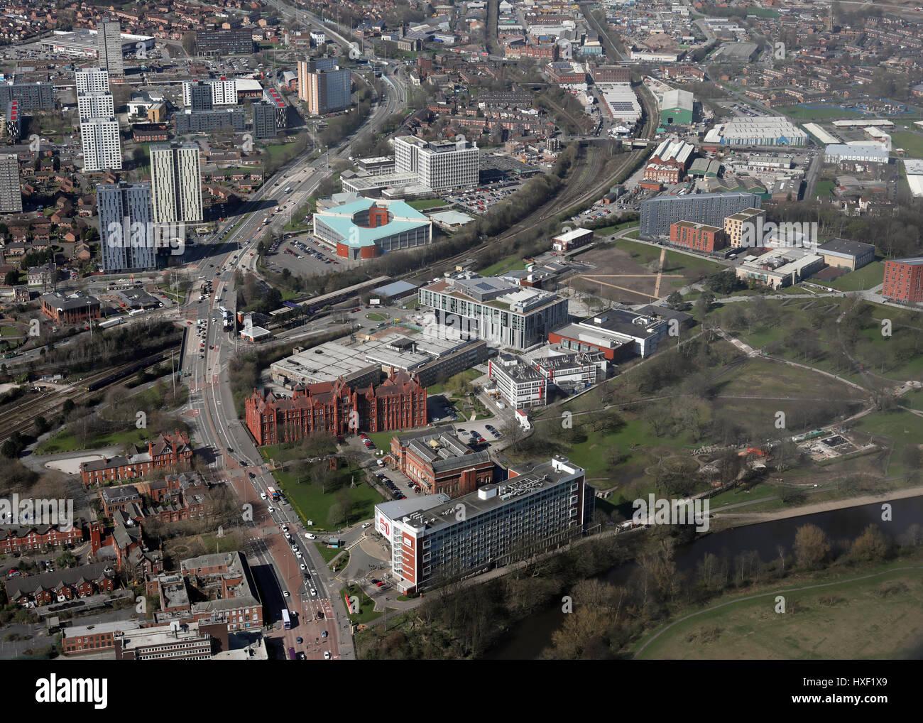 aerial view of Salford University, UK - Stock Image