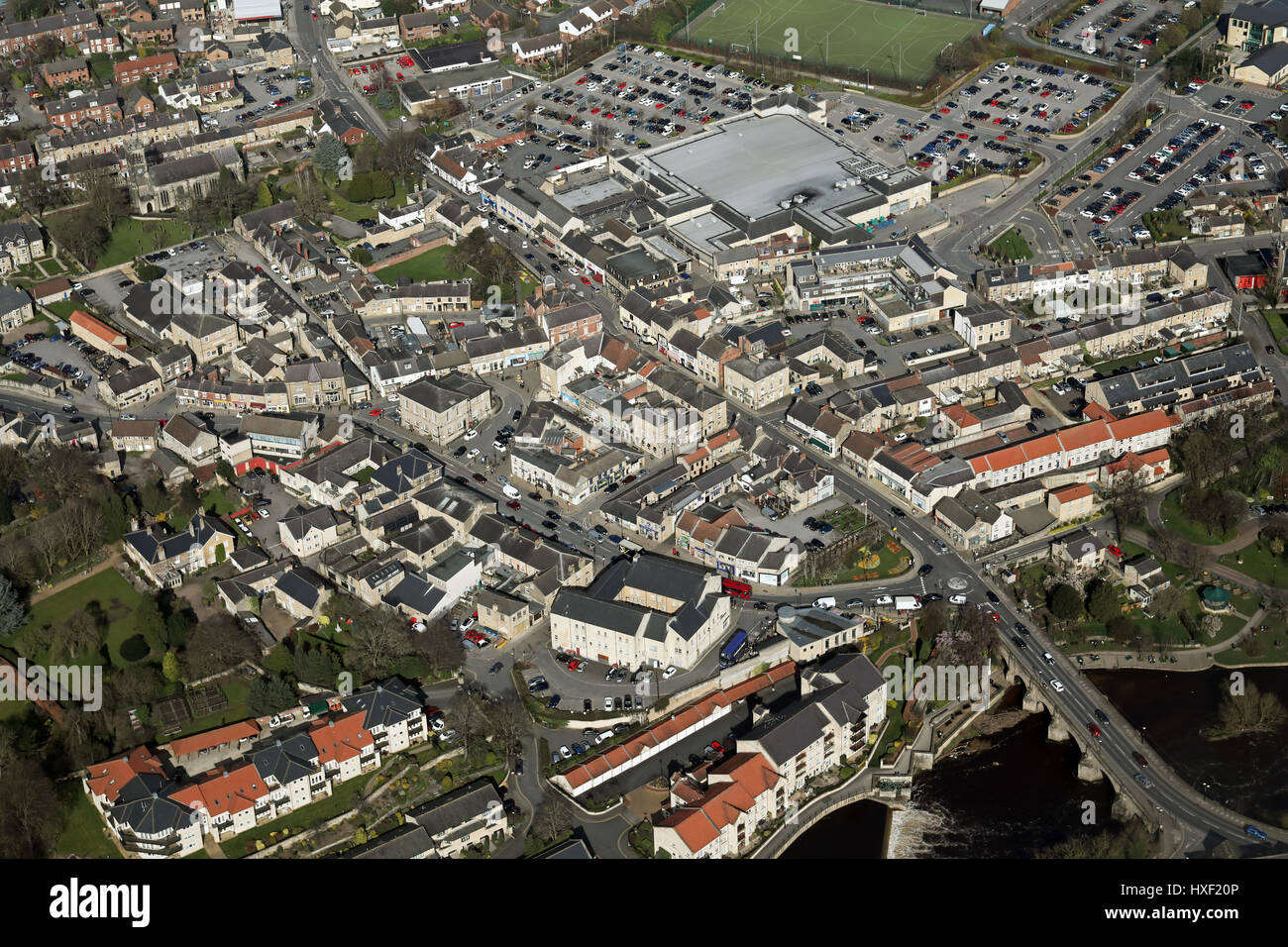 aerial view of Wetherby town centre, West Yorkshire, UK - Stock Image