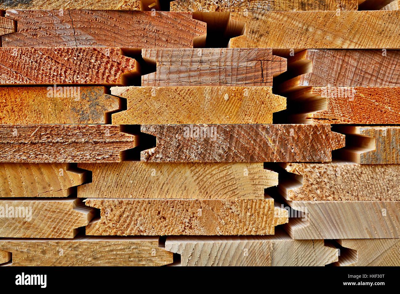 Close Up Of Horizontally Stacked Wood Planks - Stock Image