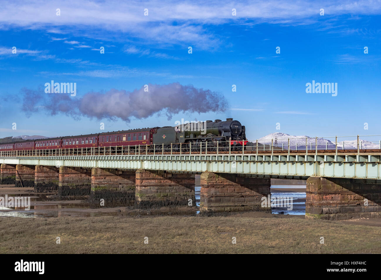 The Scots Guardsman steam train on the Eskmeals viaduct over the river Esk in Cumbria. - Stock Image