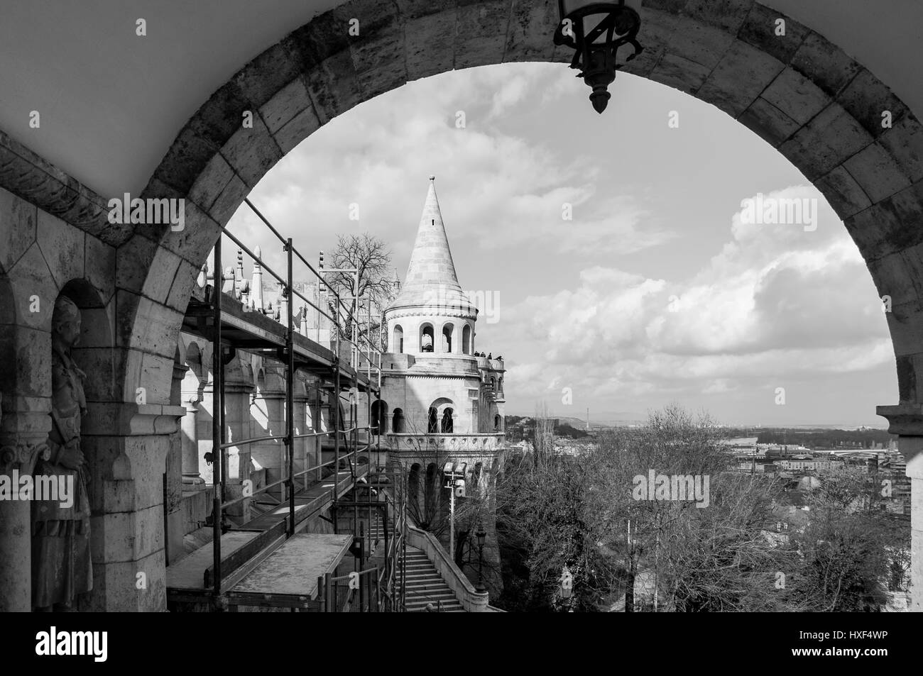 BUDAPEST, HUNGARY - FEBRUARY 20, 2016: Fisherman's Castle is a terrace in neo-Gothic and neo-Romanesque style - Stock Image