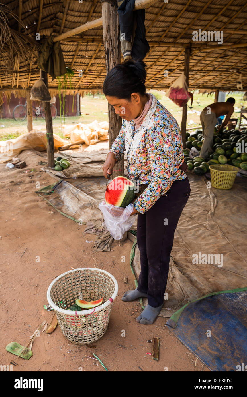 shop with watermelons on the street of the town Siem Reap , Cambodia, Asia. Stock Photo