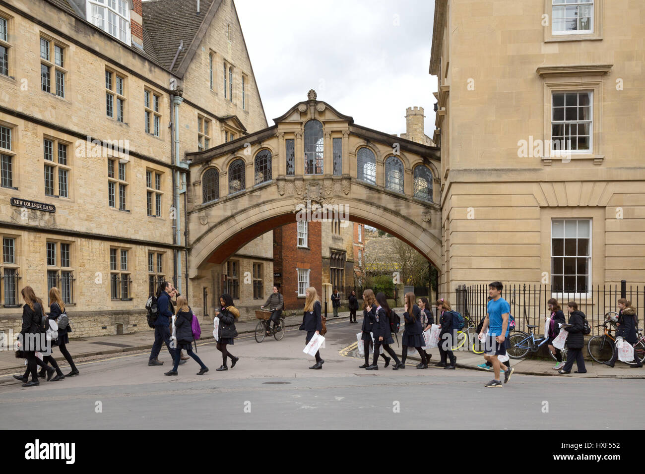 Schoolchildren on a school trip, Bridge of Sighs, Hertford College, Oxford UK, - Stock Image