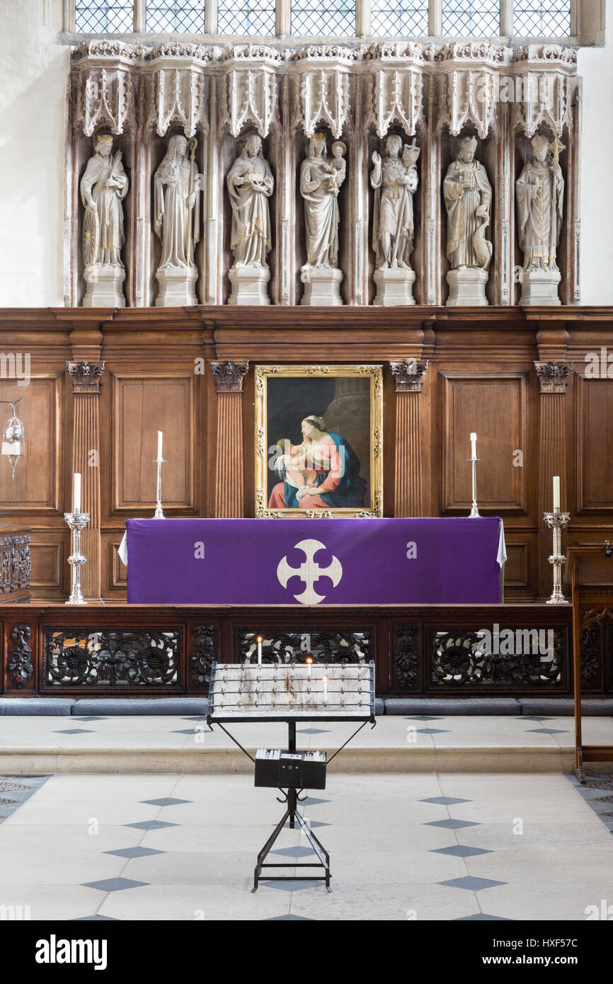 University Church of St Mary the Virgin Oxford UK Interior - the altar and reredos, Oxford Oxfordshire UK - Stock Image