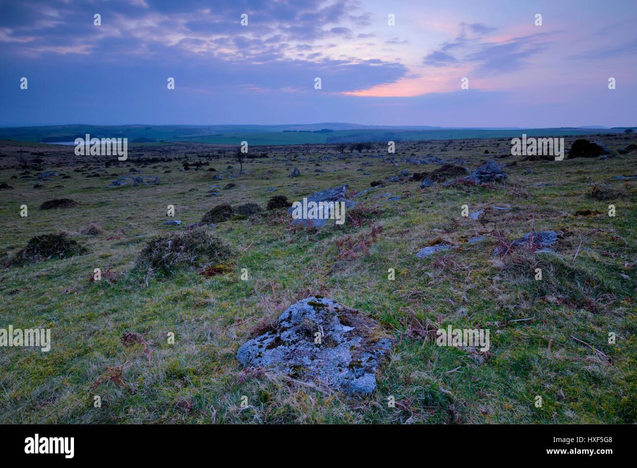 Sun setting on Bodmin Moor near the moorland village of Minions - Stock Image