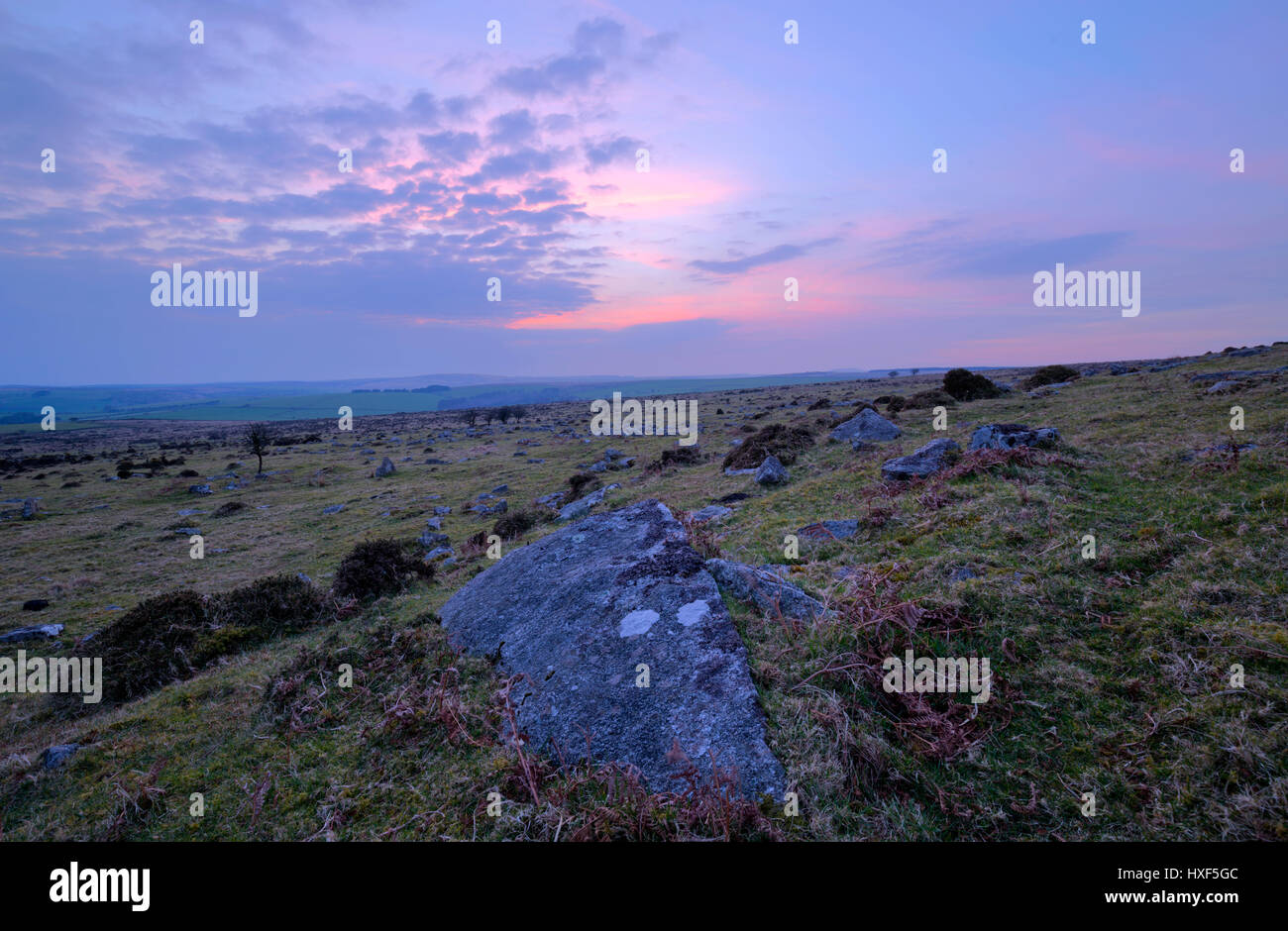 Sun setting on Bodmin Moor looking towards Siblyback Lake - Stock Image