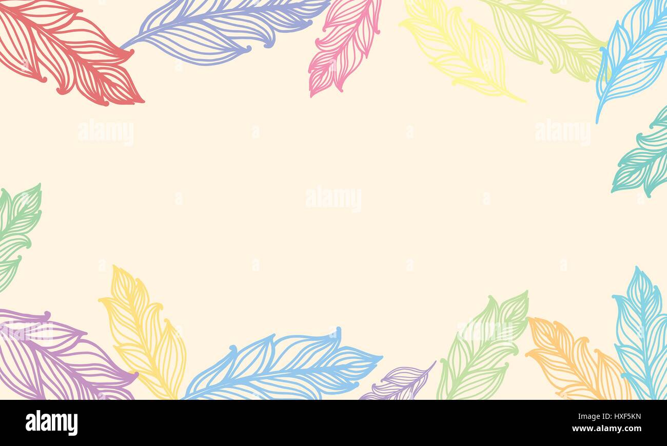 Cute background with feathers. Vector card design with