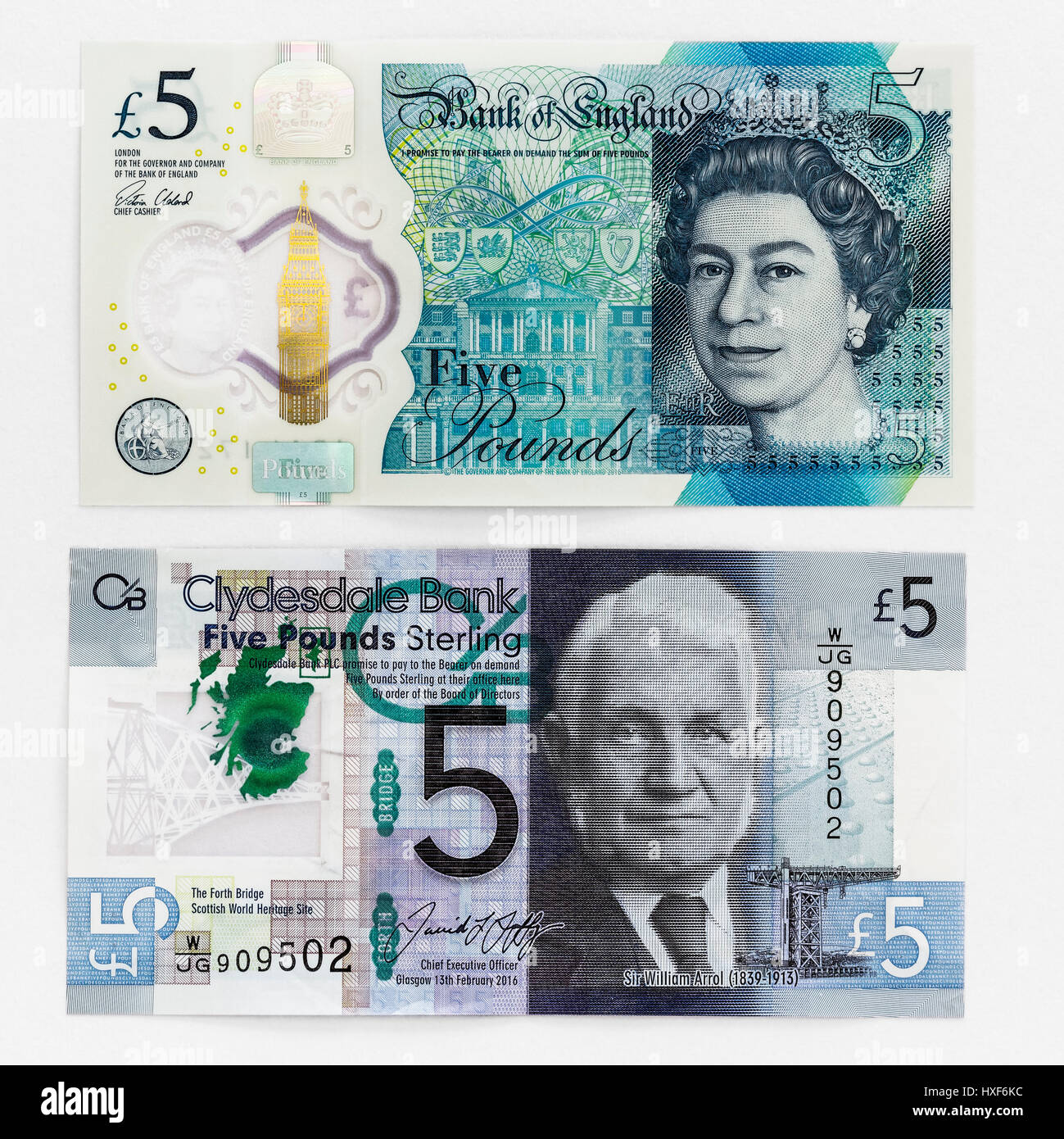 English and Scottish five pound note currency introduced in 2016 - Stock Image