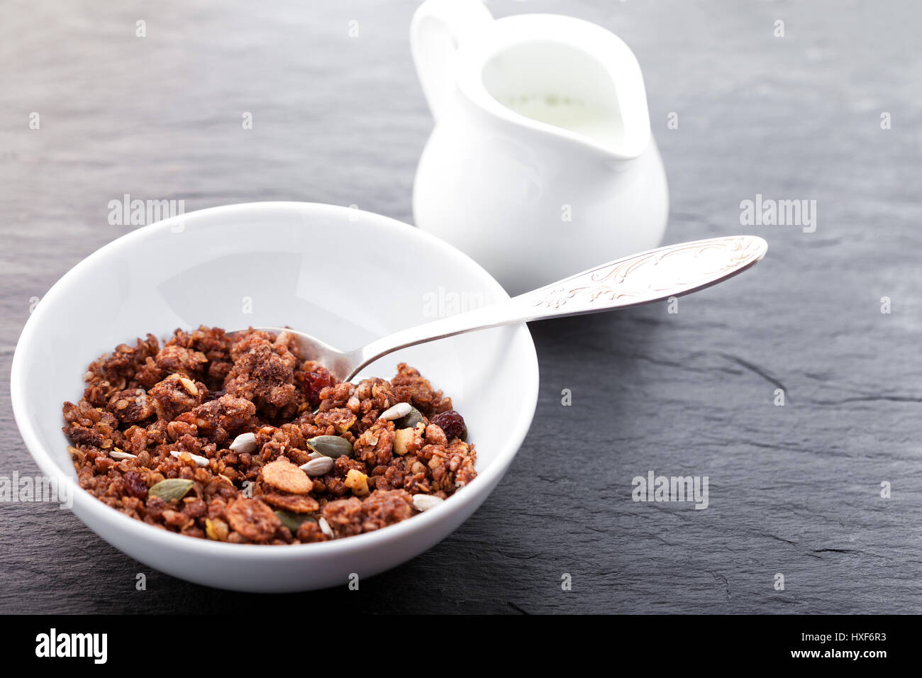 Granola. Healthy Chocolate Oat Bars - Stock Image