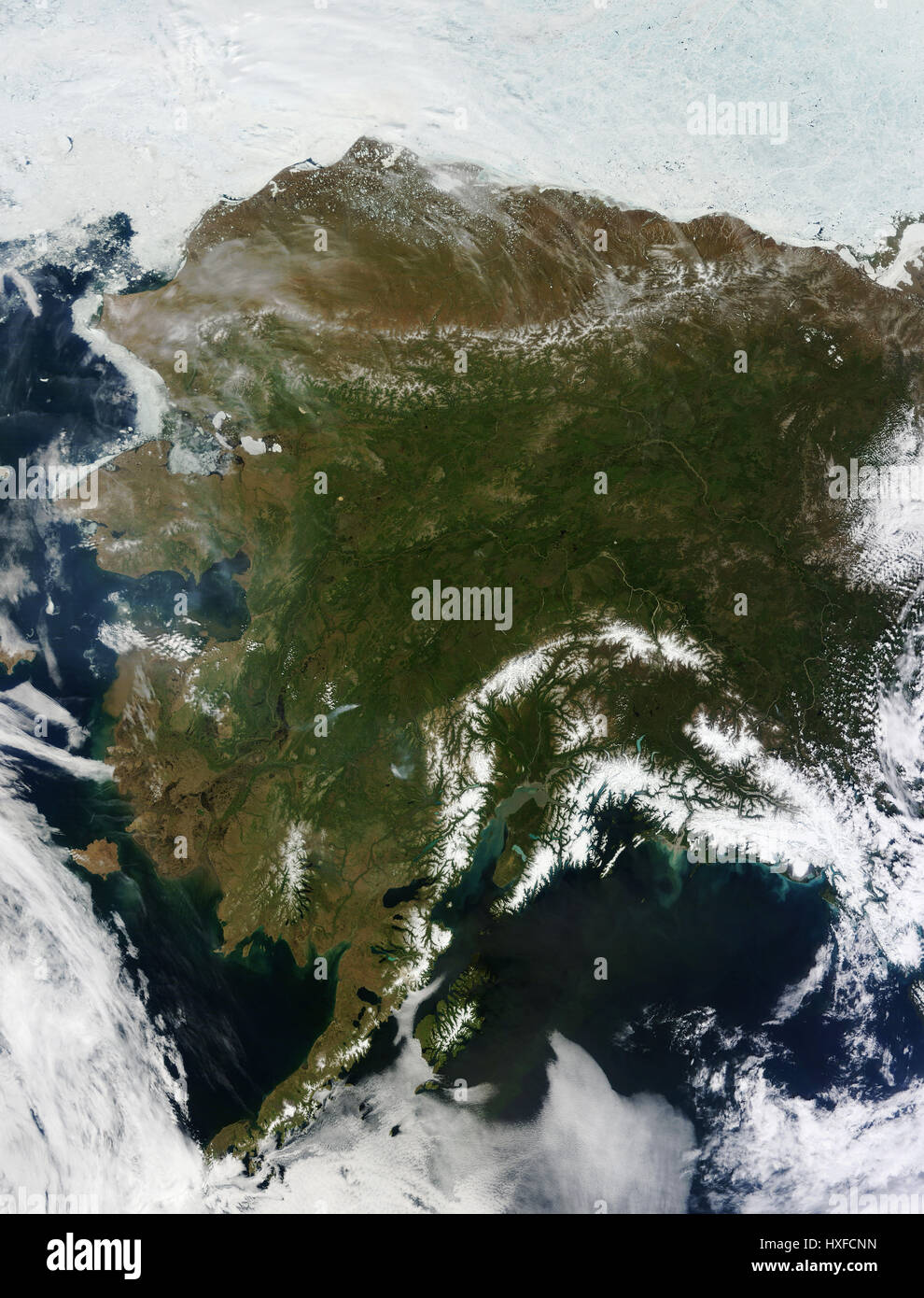 Satellite image of Alaska, USA - Stock Image