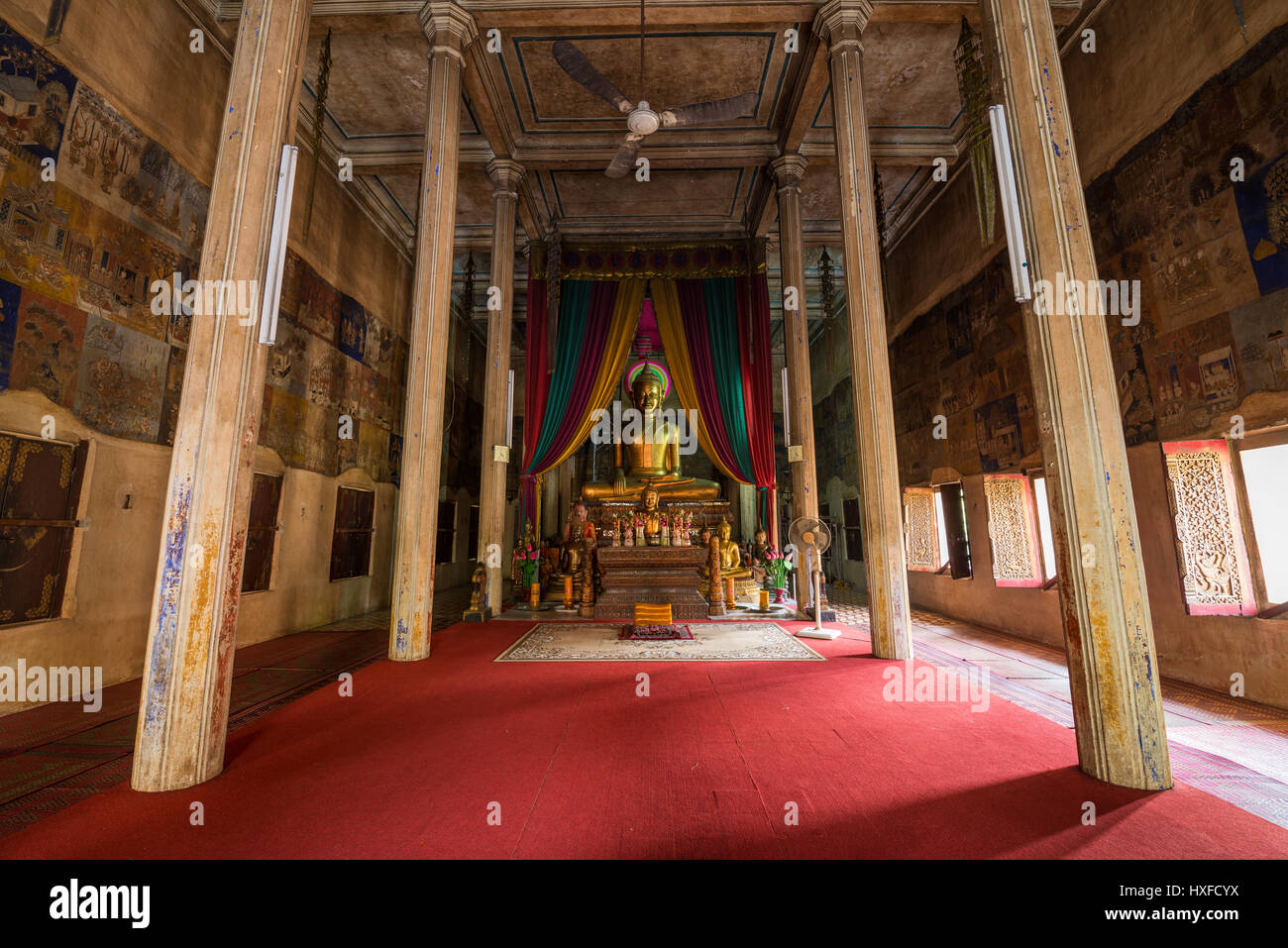 Interior of the Wat Bo temple in the Siem Reap, Cambodia. Stock Photo