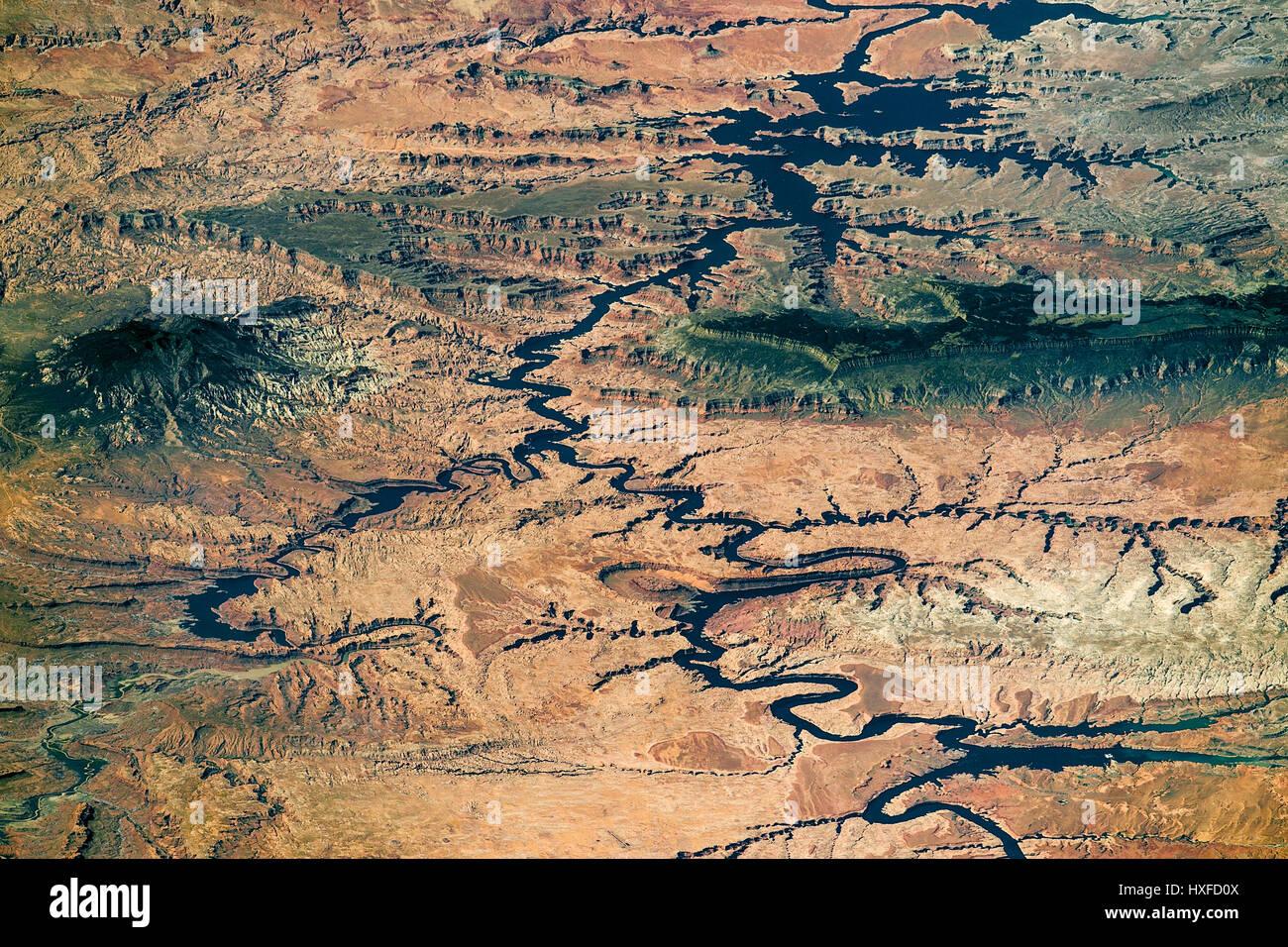 Lake Powell and the Colorad River, Arizona/Utah border, USA. ISS image - Stock Image