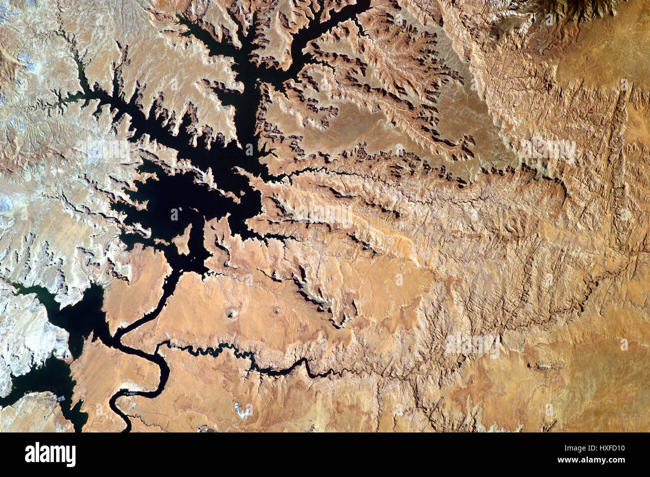 View of lake Powell from the ISS, Arizona and Utah Border. - Stock Image