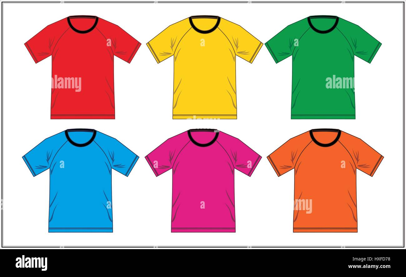T shirt Design Template Raglan Colorful, Vector. - Stock Image