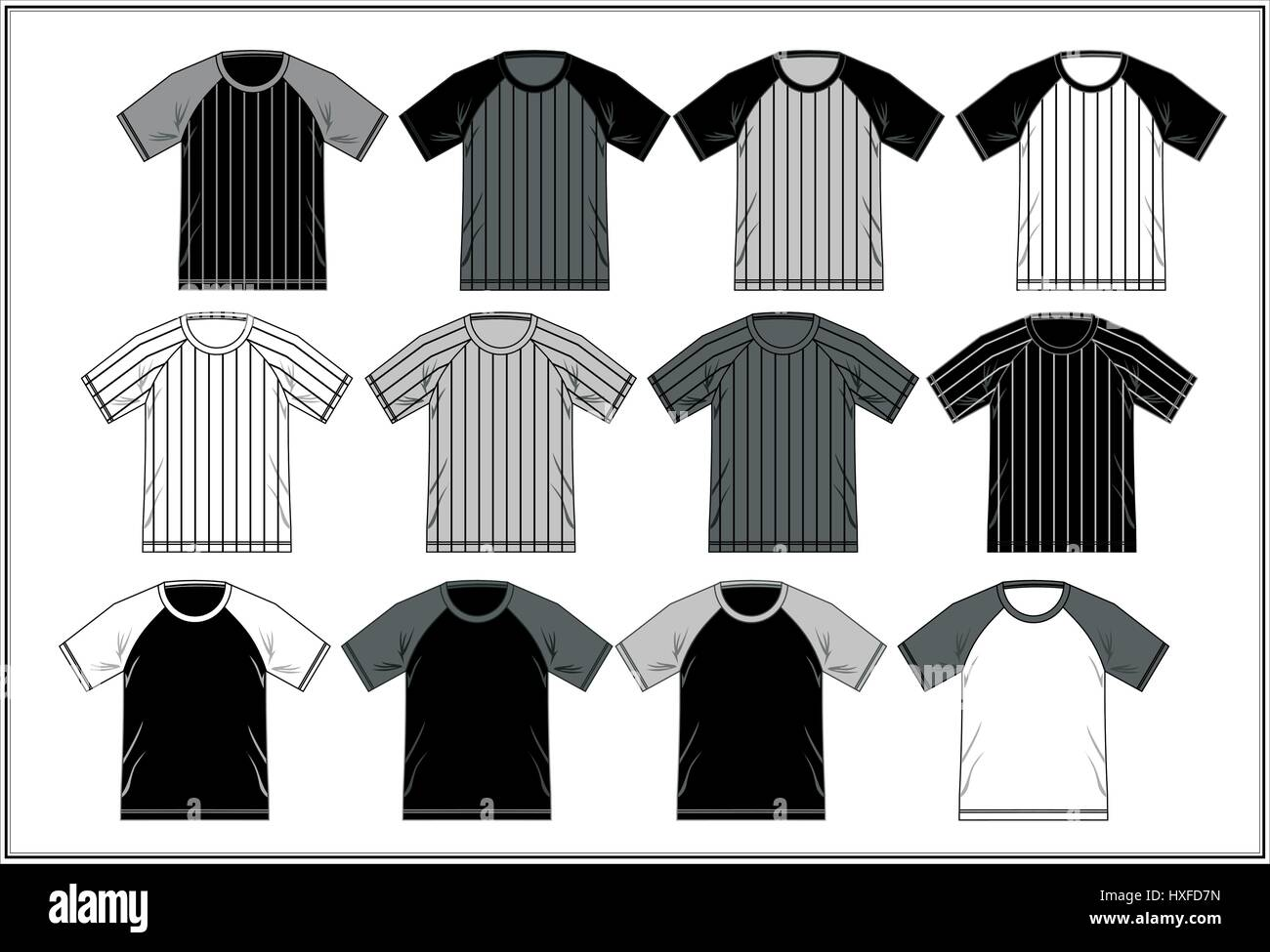 T Shirt Template Raglan Black And White, Vector - Stock Image