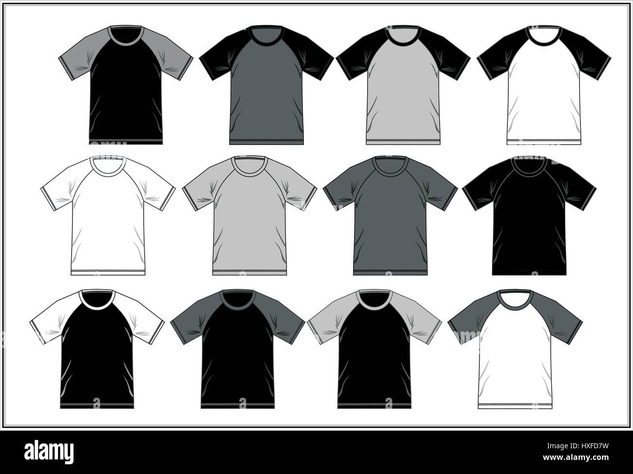 T Shirt Template Raglan Black White, Vector - Stock Image