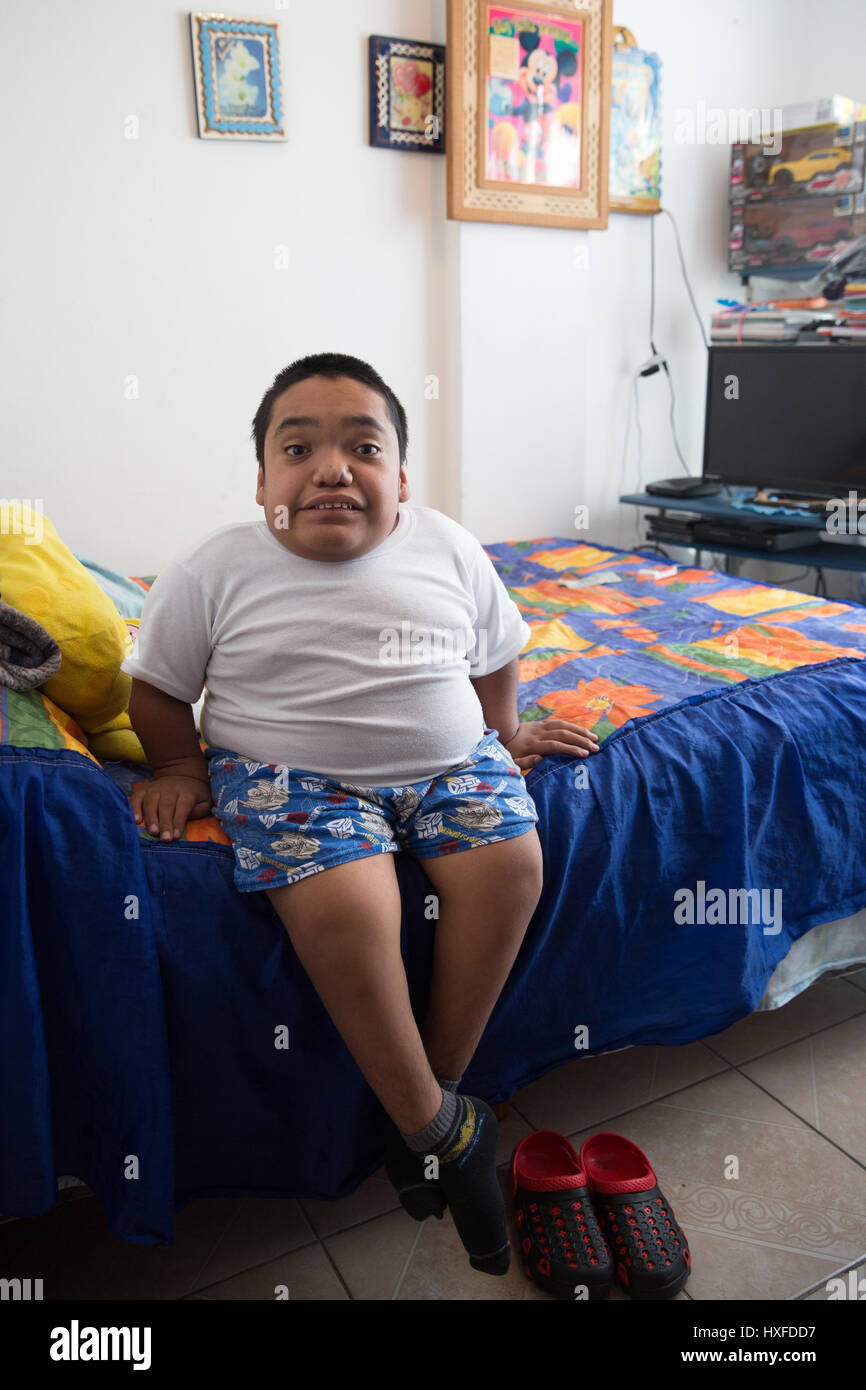Joaquin Eduardo Torres Gil, 14, is pictured in his bedroom in Mexico City, Mexico, on February 16, 2017. Joaquin - Stock Image