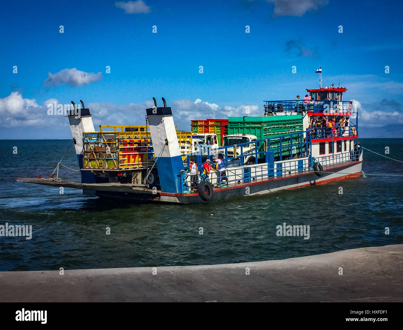 Ferry boat from San Jorge to Isla Ometepe, Nicaragua - Stock Image