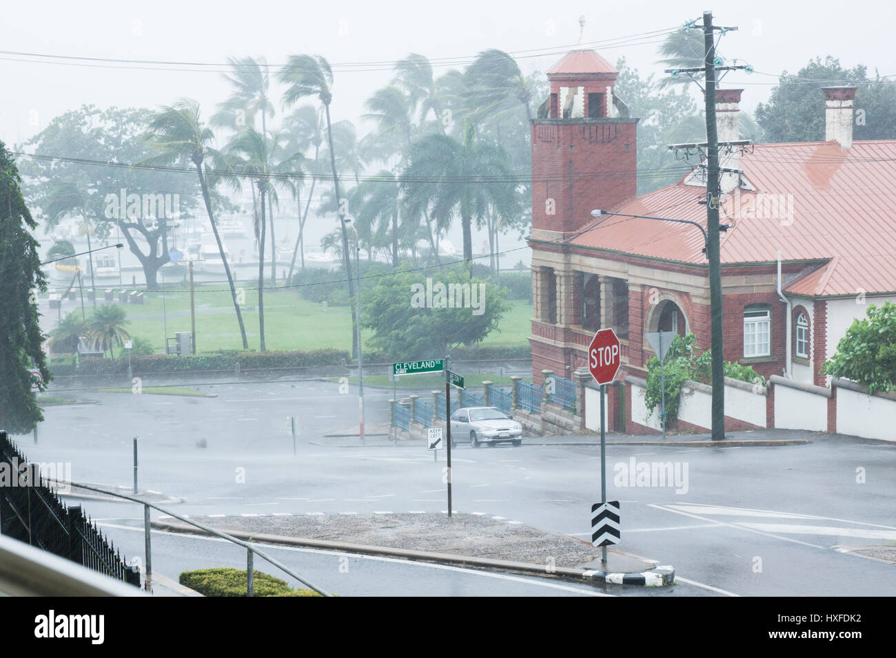 Torrential rain during Cyclone Ita in April, 2014 on The Strand, Townsville, Australia - Stock Image