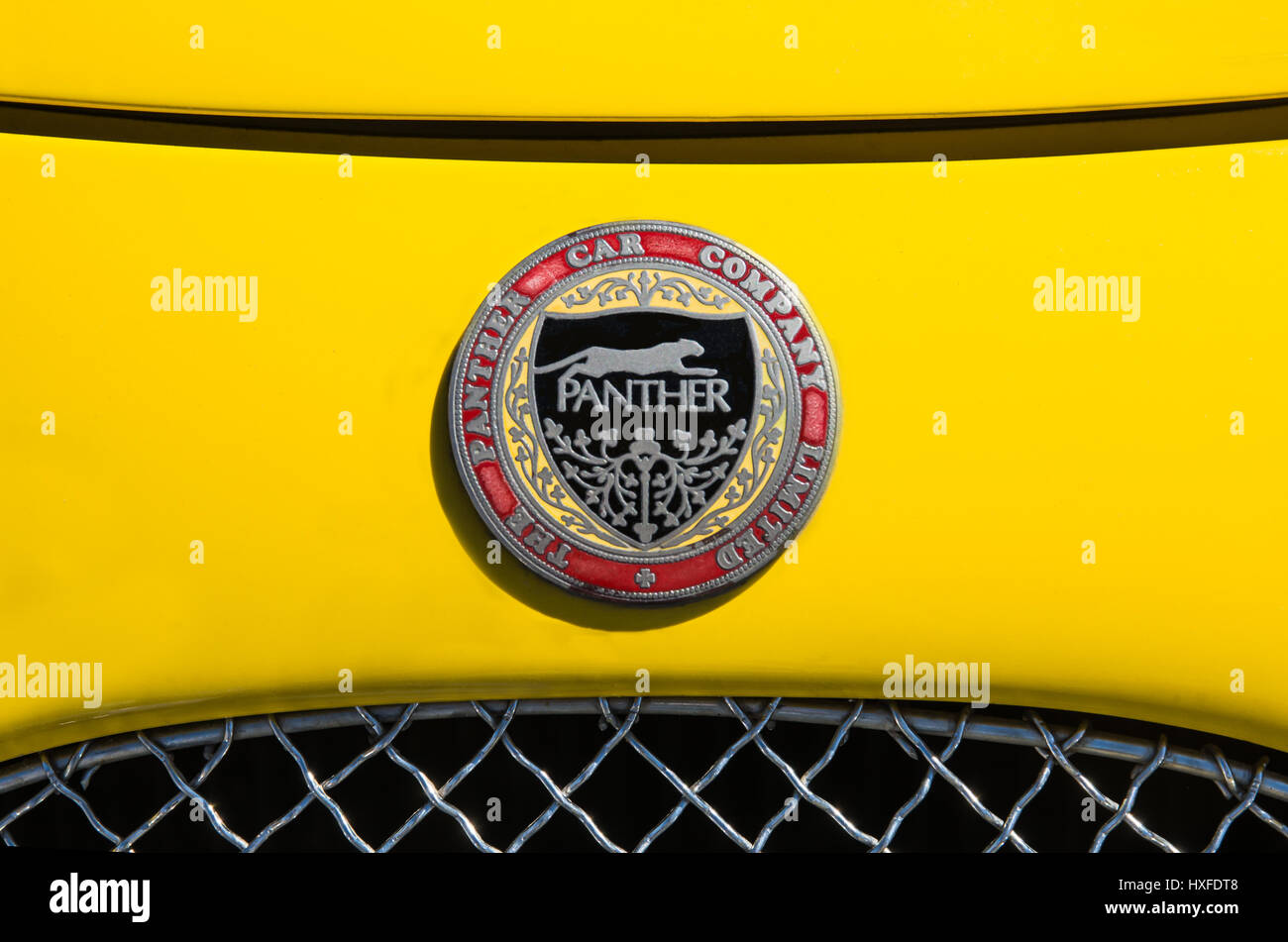 The Panther Car Company Limited Badge, Logo on the front of a Yellow