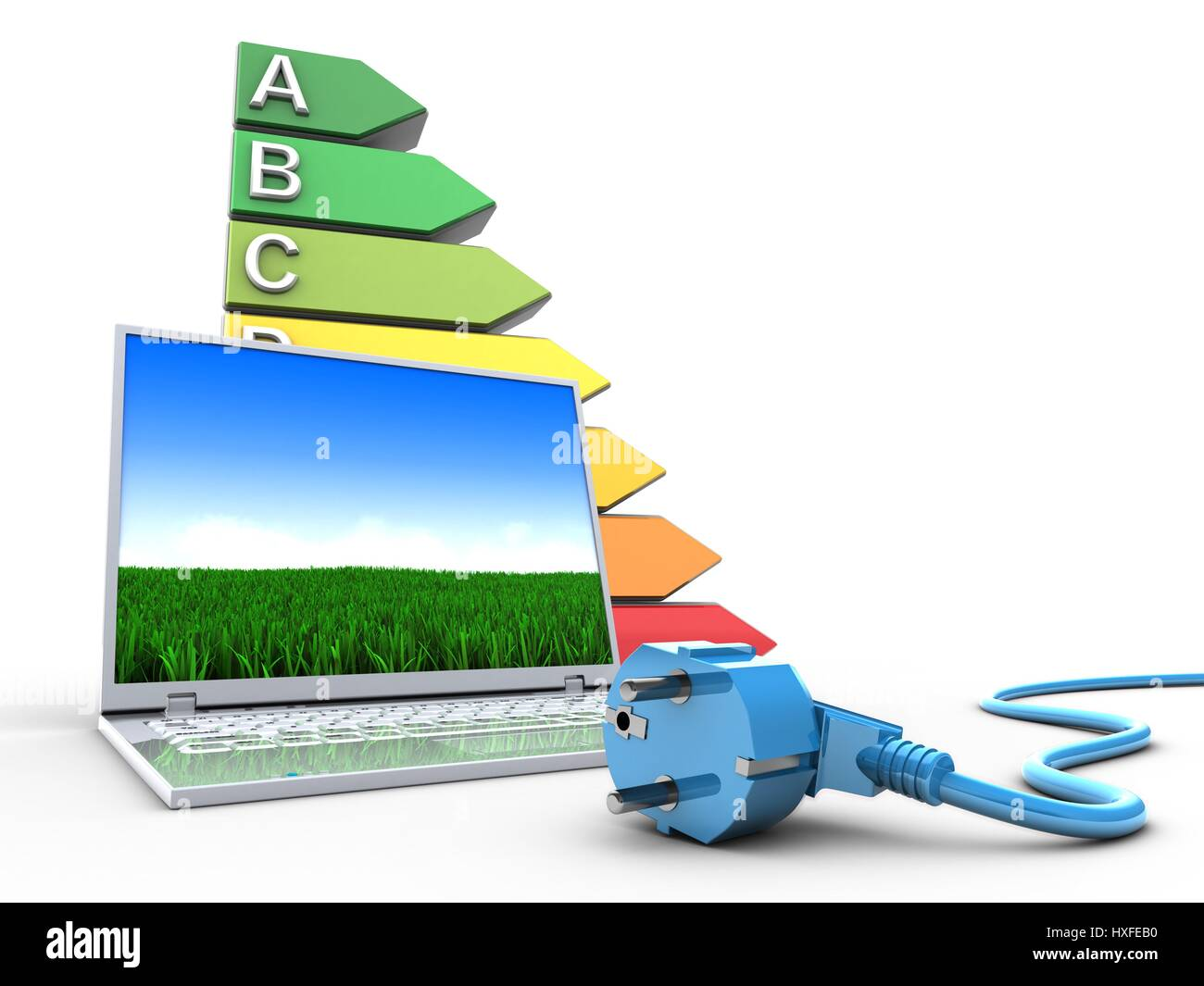 3d illustration of laptop computer over white background with efficient ranks and power cord - Stock Image