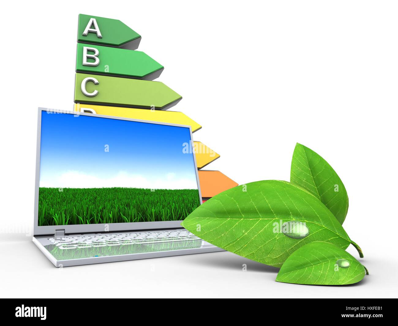 3d illustration of laptop computer over white background with efficient ranks and leaf - Stock Image