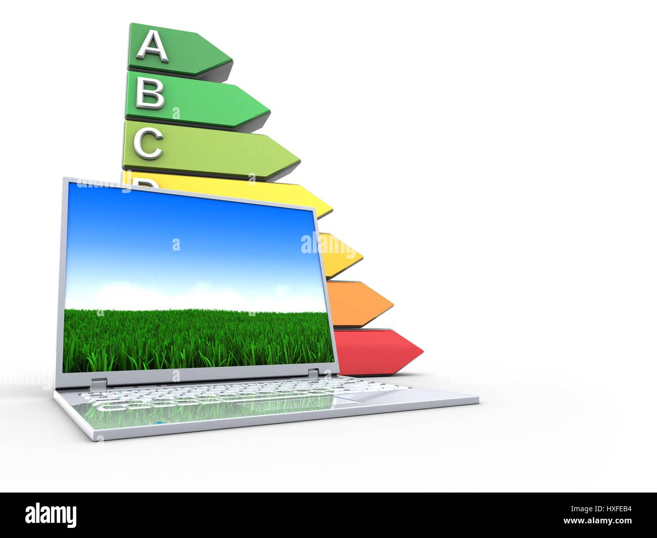 3d illustration of laptop computer over white background with efficient ranks - Stock Image