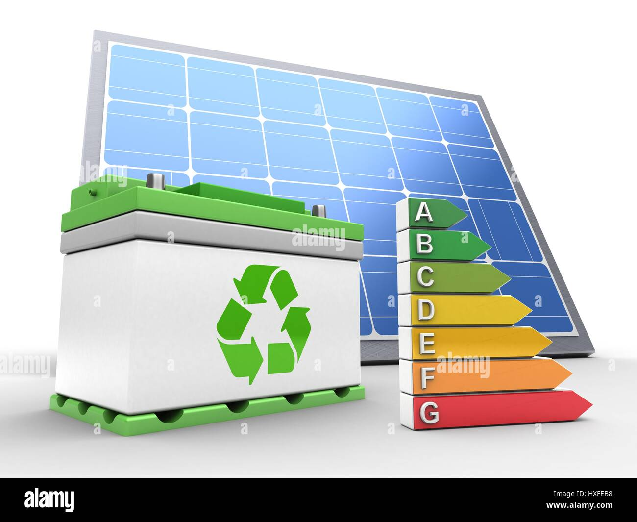 Electric Car Battery Diagram Stock Photos Solar 3d Illustration Of Over White Background With Panel And Efficient Ranks