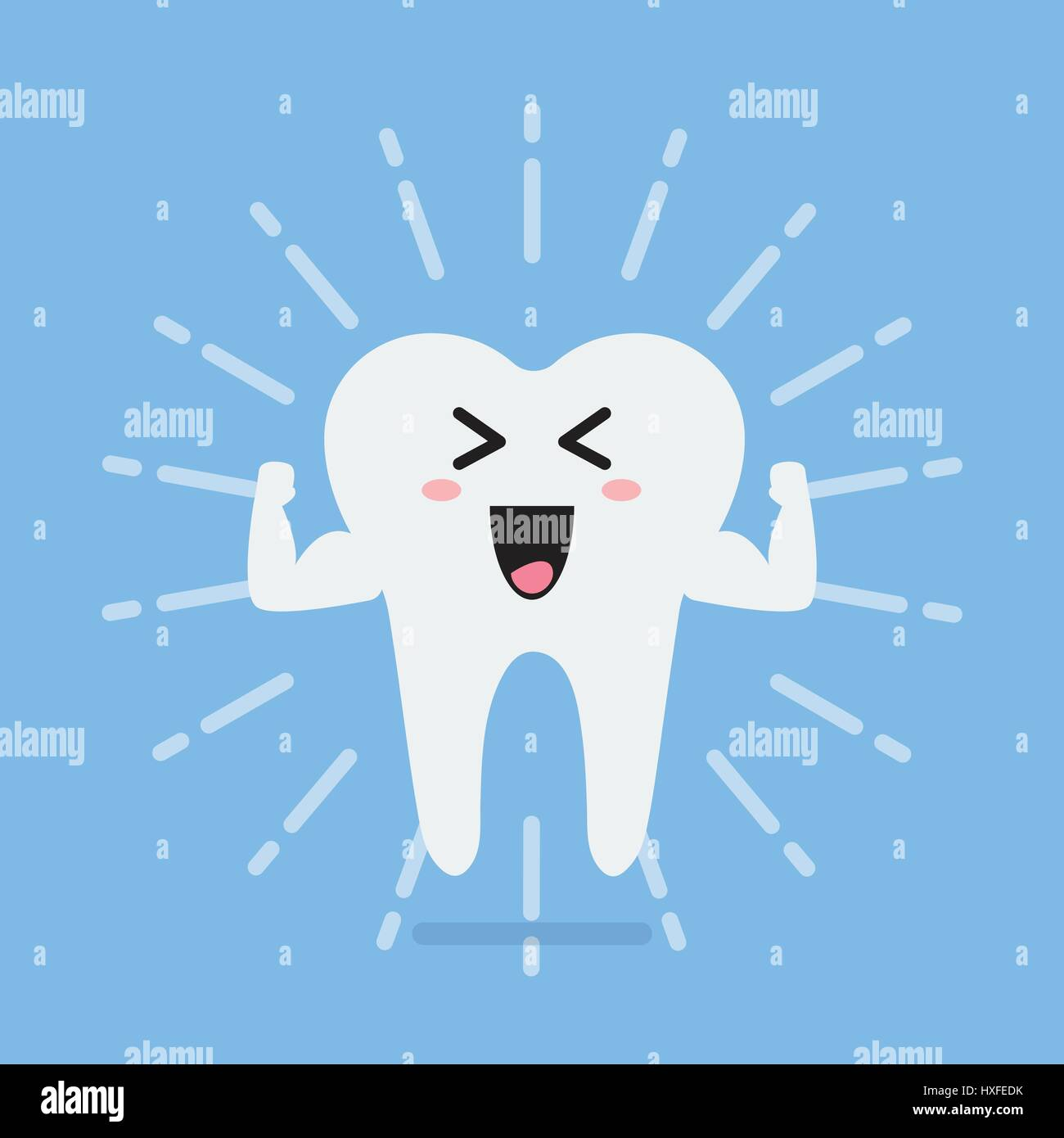 Happy healthy and strong tooth. Concept of children's dentistry - Stock Image